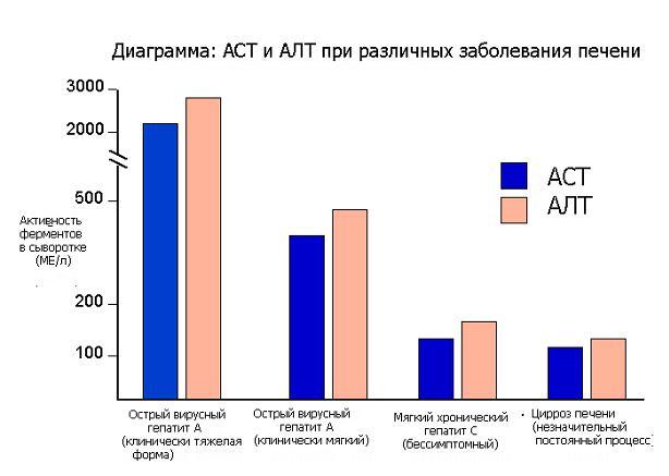 Изменение показателей АЛТ и АСТ при гепатите С